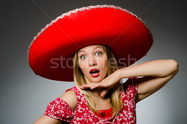 Woman wearing sombrero hat in funny concept Stock photo © Elnur