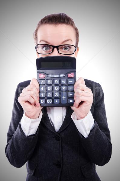 смешные бухгалтер калькулятор белый женщину деньги Сток-фото © Elnur