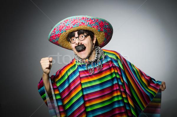 Férfi élénk mexikói szürke háttér szivárvány Stock fotó © Elnur