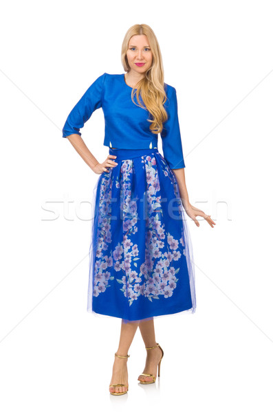 Woman in blue dress with flower prints isolated on white Stock photo © Elnur
