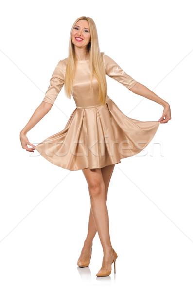 Bastante menina cetim mini vestir isolado Foto stock © Elnur