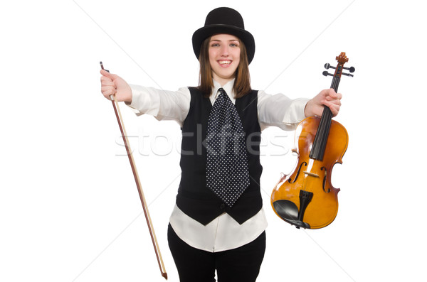Woman violin player isolated on white Stock photo © Elnur