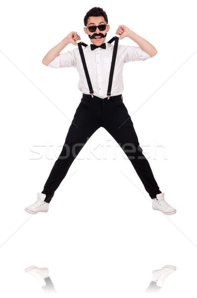 Jonge man snor geïsoleerd witte achtergrond springen Stockfoto © Elnur