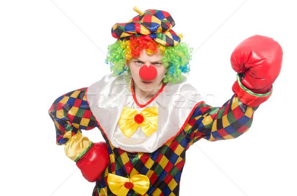 Clown bokshandschoenen geïsoleerd witte vak triest Stockfoto © Elnur
