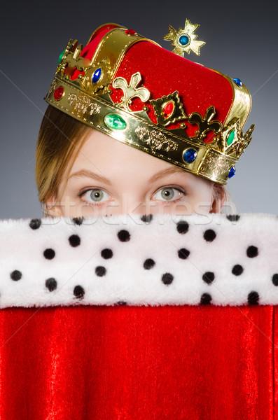 Visel korona szürke modell háttér portré Stock fotó © Elnur