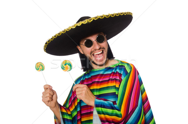 Handsome man in vivid poncho holding lollypop isolated on white Stock photo © Elnur