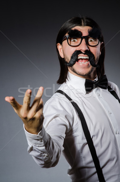 человека усы Солнцезащитные очки серый моде фон Сток-фото © Elnur