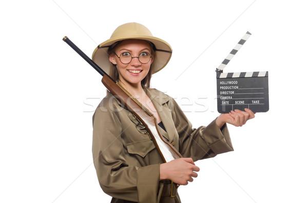 женщину Safari Hat белый фильма Сток-фото © Elnur