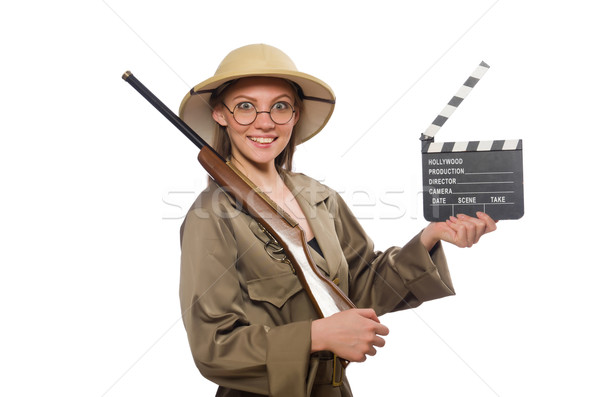 Donna indossare safari Hat bianco film Foto d'archivio © Elnur