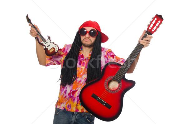Mężczyzna muzyk odizolowany biały człowiek rock Zdjęcia stock © Elnur