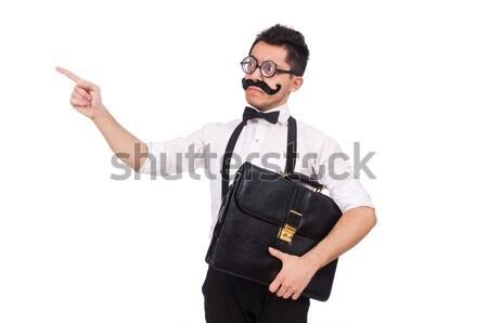 Jonge man aktetas geïsoleerd witte achtergrond zakenman Stockfoto © Elnur
