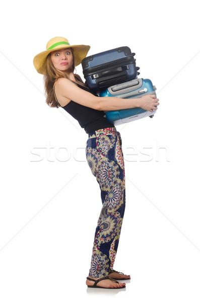 Vrouw klaar zomer reizen geïsoleerd witte Stockfoto © Elnur