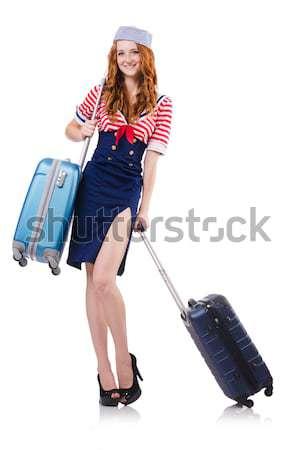 Zdjęcia stock: Podróży · wakacje · bagażu · biały · dziewczyna · szczęśliwy