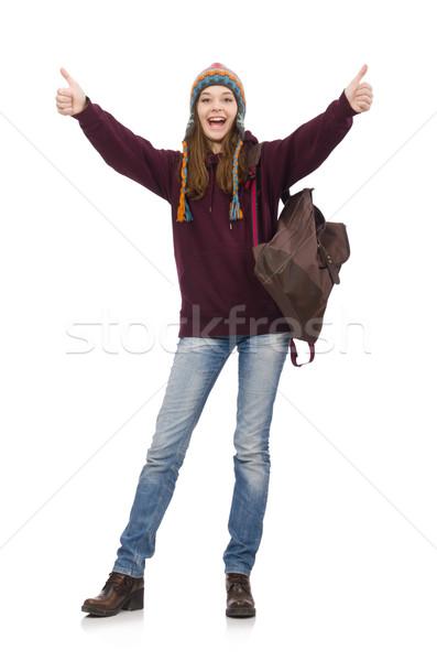 Uśmiechnięty student plecak odizolowany biały tle Zdjęcia stock © Elnur