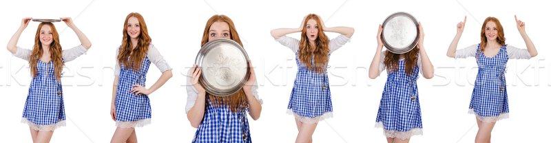 Nice привлекательный официантка изолированный белый девушки Сток-фото © Elnur