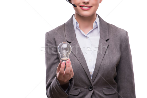 Call center operator with light bulb isolated on white Stock photo © Elnur