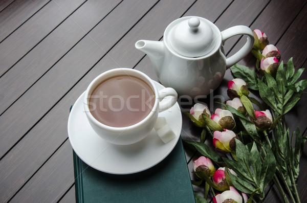 カップ 茶 ケータリング 花 図書 ガラス ストックフォト © Elnur