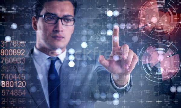 üzletember kisajtolás virtuális gombok futurisztikus pénz Stock fotó © Elnur