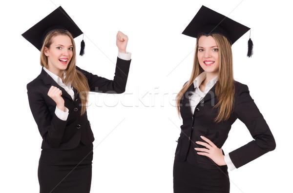Nő diák izolált fehér papír oktatás Stock fotó © Elnur