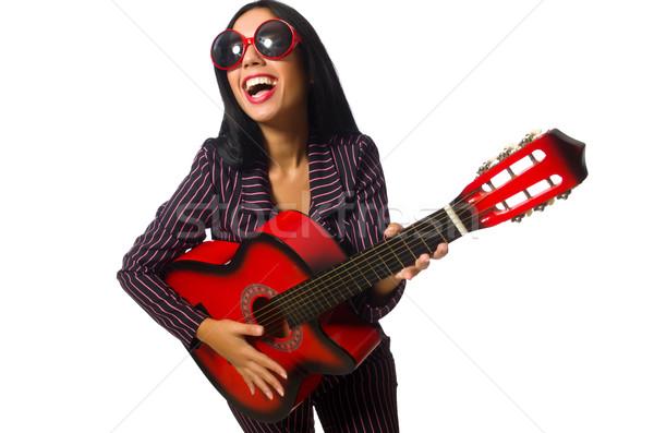 Mulher guitarrista isolado branco música feliz Foto stock © Elnur