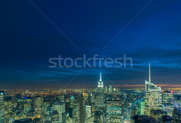 Noite ver novo manhattan pôr do sol negócio Foto stock © Elnur