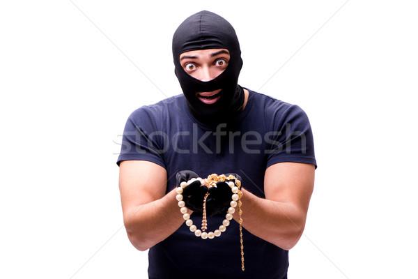 Robber wearing balaclava isolated on white Stock photo © Elnur