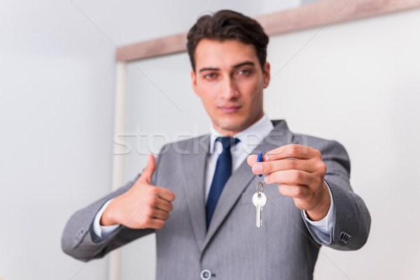 Agent immobilier clé affaires homme banque Photo stock © Elnur