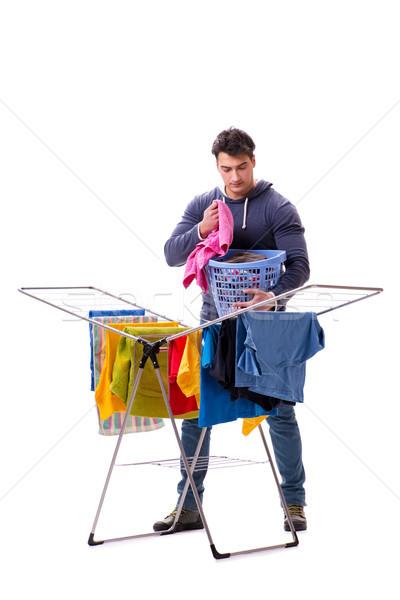 Mąż człowiek pranie odizolowany biały uśmiech Zdjęcia stock © Elnur