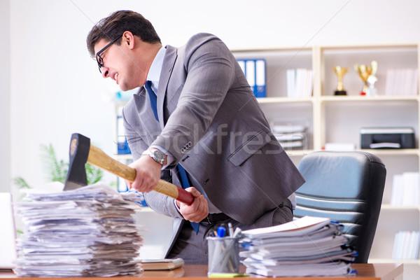 Arrabbiato aggressivo imprenditore ufficio lavoro desk Foto d'archivio © Elnur