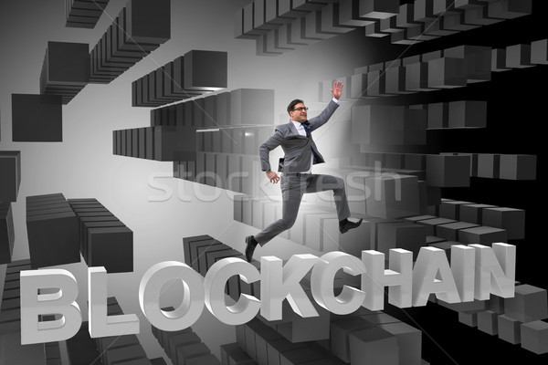 Concept of blockchain in modern business Stock photo © Elnur