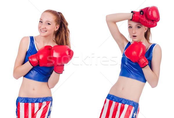 Femme boxeur uniforme symboles fille santé Photo stock © Elnur