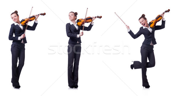 Woman fiddler isolated on white background Stock photo © Elnur