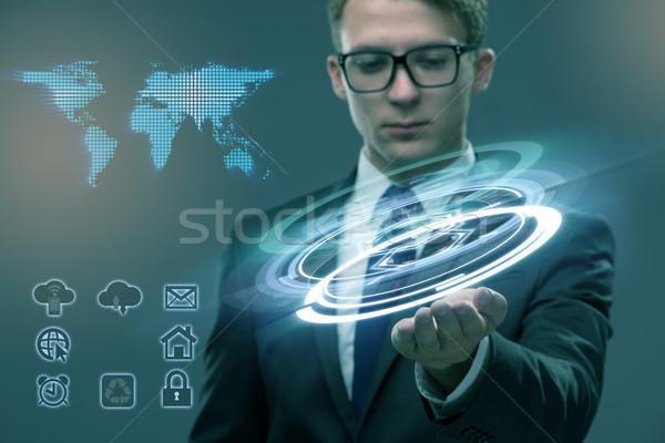 Jovem global de negócios escritório mão globo homem Foto stock © Elnur