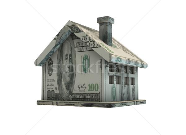 Ház dollár bankjegyek izolált Fehér ház fehér Stock fotó © Elnur
