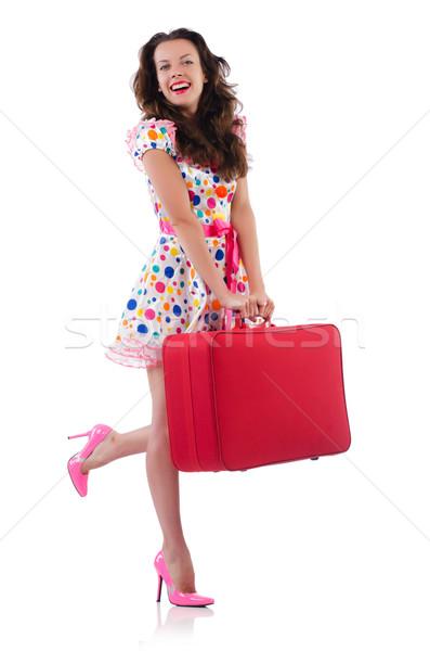 Mulher vermelho caso isolado branco negócio Foto stock © Elnur