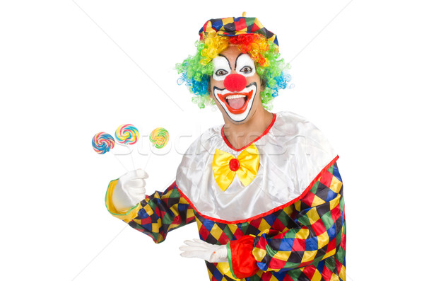 Clown with lollipops isolated on white Stock photo © Elnur