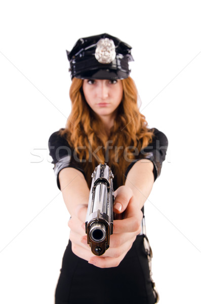 Femenino policía oficina aislado blanco arma Foto stock © Elnur