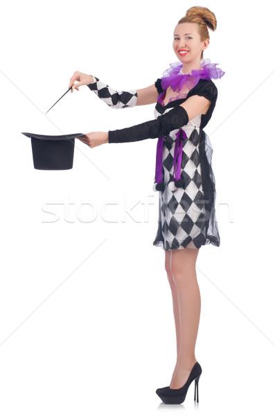 Kobieta magik odizolowany biały strony uśmiech Zdjęcia stock © Elnur