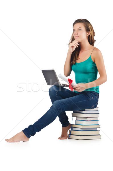 öğrenci netbook'lar oturma kitaplar iş Internet Stok fotoğraf © Elnur