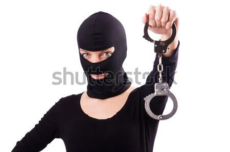 Criminal arma aislado blanco mujer máscara Foto stock © Elnur