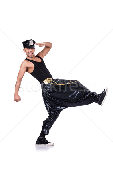 Stock photo: Rap dancer in wide pants on white