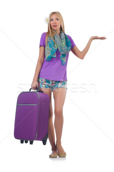 Woman preparing for vacation with suitcase holding hands  isolat Stock photo © Elnur