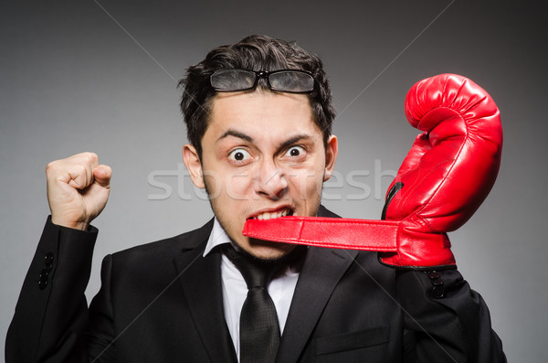 Funny boxer businessman in sport concept Stock photo © Elnur