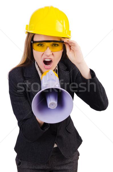 Femenino trabajador de la construcción altavoz aislado blanco mujer Foto stock © Elnur