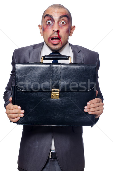 Vesztes üzletember izolált fehér boldog munkás Stock fotó © Elnur