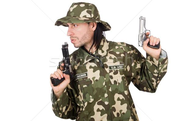 面白い 兵士 軍事 手 男 背景 ストックフォト © Elnur