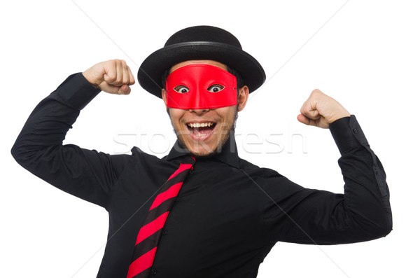Young man with red mask isolated on white Stock photo © Elnur