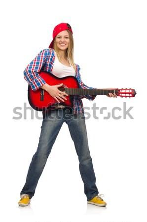 Stock fotó: Nő · gitár · izolált · fehér · zene · buli