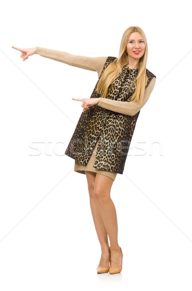 Pretty young woman in leopard vest isolated on white Stock photo © Elnur
