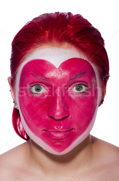 Woman with heart face painting isolated on white Stock photo © Elnur